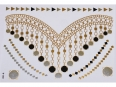 Gold Silver Black | Jewelry Flash Tattoo stickers W-088, 21x15cm