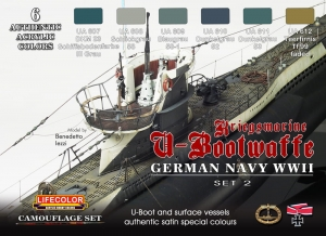 Set colores camuflaje LifeColor CS12 GERMAN NAVY WWII SET2 Kriegsmarine u-Bootwaffe