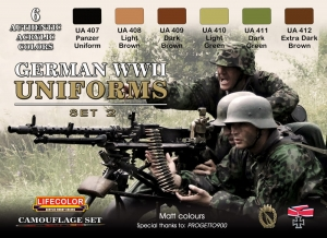 Set colores camuflaje LifeColor CS05 GERMAN WWII UNIFORMS SET2