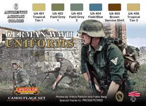 Set colores camuflaje LifeColor CS04 GERMAN WWII UNIFORMS SET1