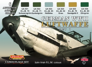 Set colores camuflaje LifeColor CS06 GERMAN WWII LUFTWAFFE SET1