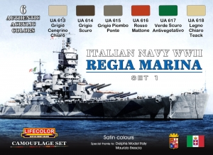 Set colores camuflaje LifeColor CS15 ITALIAN NAVY WWII SET1 REGIA MARINA ITALIANA