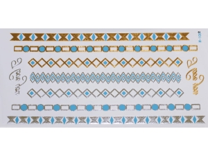 Gold Silver Blue | Jewelry Flash Tattoo stickers W-100C, 21x11cm