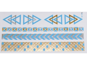 Gold Silver Blue | Jewelry Flash Tattoo stickers W-102C, 21x11cm