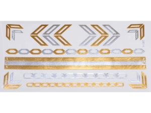Gold Silver | Jewelry Flash Tattoo stickers W-080, 21x11cm