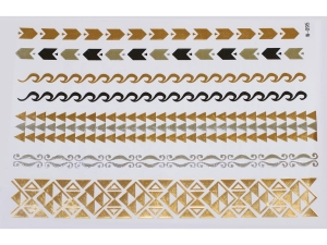 Gold Silver Black | Jewelry Flash Tattoo stickers W-095, 21x15cm