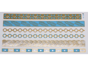 Gold Silver Blue | Jewelry Flash Tattoo stickers W-106C, 21x11cm
