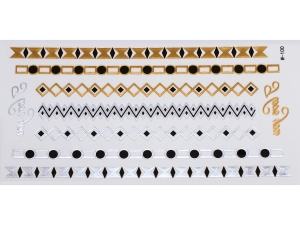 Gold Silver Black | Jewelry Flash Tattoo stickers W-100, 21x11cm