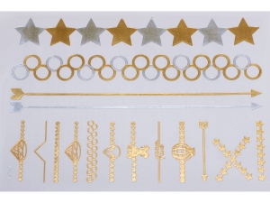Gold Silver | Jewelry Flash Tattoo stickers W-078, 21x15cm