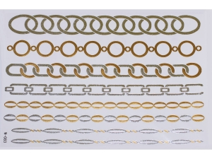 Gold Silver | Jewelry Flash Tattoo stickers W-083, 21x15cm