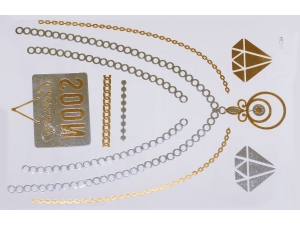 Gold Silver | Jewelry Flash Tattoo stickers W-084, 21x15cm