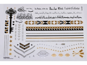 Gold Silver Black | Jewelry Flash Tattoo stickers W-089, 21x15cm