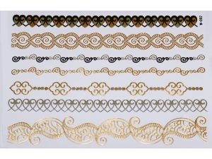 Gold Silver Black | Jewelry Flash Tattoo stickers W-092, 21x15cm