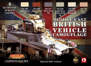 Set colores camuflaje LifeColor CS16 MIDDLE EAST BRITISH VEHICLE CAMOUFLAGE