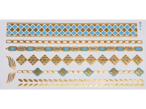 Gold Silver Blue | Jewelry Flash Tattoo stickers W-098C, 21x11cm